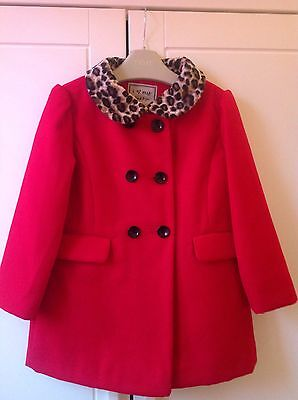 Next Girls Red Coat - Aged 2-3