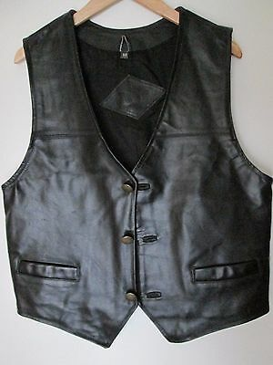 """Front and Back Thick REAL Leather Waistcoat size approx M chest 38"""" - 40"""""""
