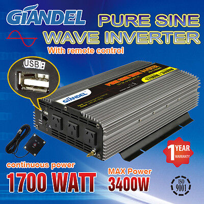 Pure Sine Wave Inverter 1700W/3400W 12V-240V With Remote Control Of 4.5 M cable