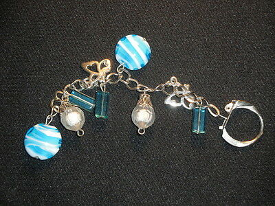 Handmade baby blue and white glass keyring bag phone charm