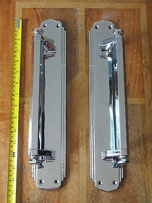 "2nd PAIR OF LARGE CHROME 15"" ART DECO DOOR PULL HANDLES KNOBS PLATES FINGER PUSH"