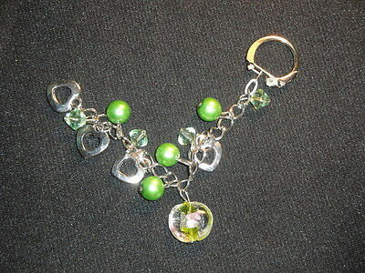 Silver in clear & green glass with hearts keyring phone handbag basket charm