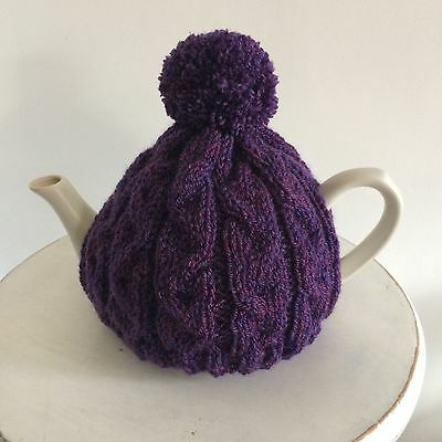 Hand Knitted Aran Style Tea Cosy with Pom Pom,Purple heather 3