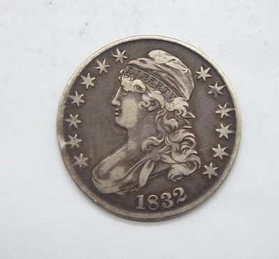 BARGAIN 1832 LARGE Letters Capped Bust/Lettered Edge Half $ VERY FINE Silver 50c