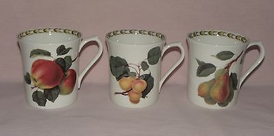 RHS, 3x Mugs, Hooker's Fruit (Apple, Pear, Apricot), Fine Bone China, by Queen's