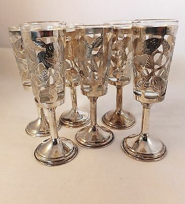Vintage Sterling silver ornate glass holders with glass shots set of 6 cordial