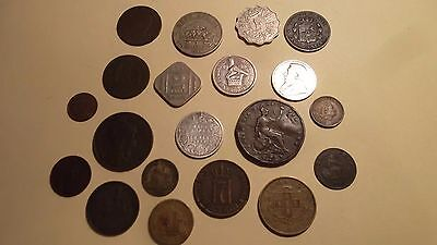mixed lot of antique coins british french ect