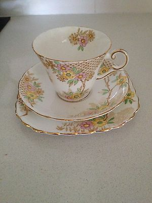 Cup, saucer & plate - very pretty pattern - Wellington China, England - Vintage
