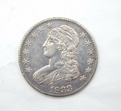 BARGAIN 1833 Capped Bust/Lettered Edge Half Dollar EXTRA FINE Silver 50-Cents