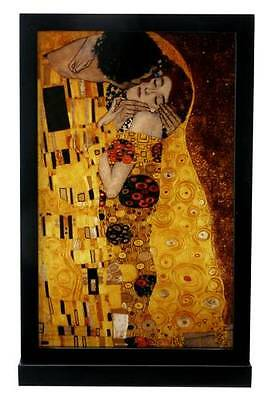 """GUSTAV KLIMT """"THE KISS"""" STAINED ART GLASS WINDOW PANEL HANGING DISPLAY w STAND"""