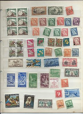 New Zealand stamps. Stock page of used - see description. (W841)