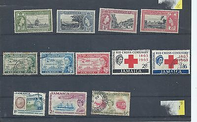 Jamaica stamps. Early QEII sets used/MH. See description. (X966)