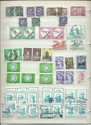 Philippines stamps. Mainly used lot with pairs & strips. (V698)