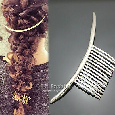 Blogger Silver Curved Bar French Updo Hair Pin Clip Dress Snap Barrette Comb
