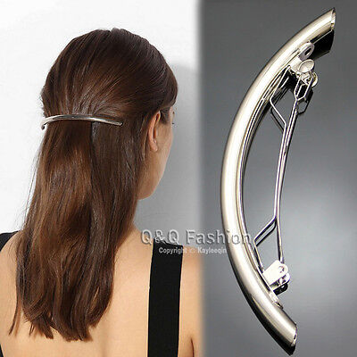"""Catwalk Silver 4.5"""" Curved Bar French Updo Hair Pin Clip Dress Snap Barrette"""