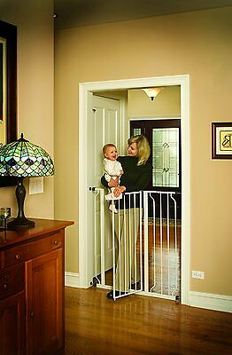 Extra Tall Gate Safety Walk Baby Infant Child Stairs Thru Pet Dog Home, White