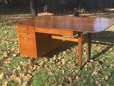 Mid Century Modern WALNUT  Retro 1960's Floating  Writing Desk