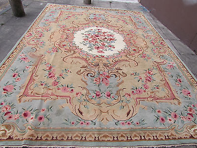 Hand Made Old Indian Savonnerie Design Wool Green Beige Large Carpet 409x293cm