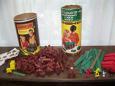 Vintage Lincoln Log sets x2, No. 3C & No. 892 About 217 pieces Wood toy building