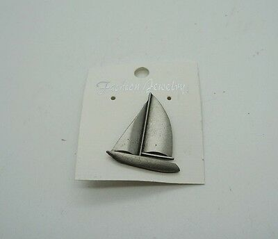 FINE PEWTER Sailboat Boat Nautical Pin Jewelry Brooch