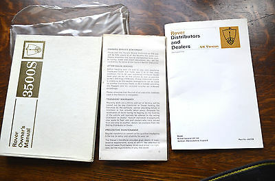 Rover 3500S Owners Manual Dealership Network Brochure and UNUSED service book