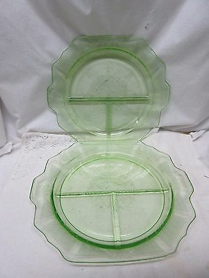 2 Sizes Green PRINCESS Depression Glass Grill Plates - by Anchor Hocking Co.