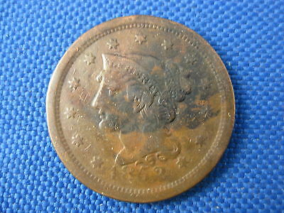 1852 Braided Hair U.s. Large Cent Copper Coin