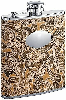 "Visol ""Marigold"" Leatherette Stainless Steel Hip Flask 6-Ounce Floral"