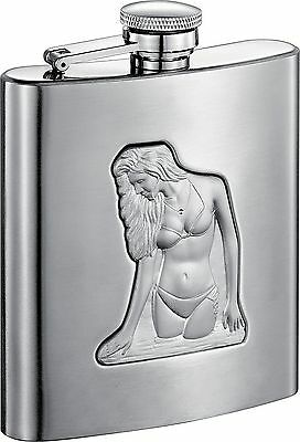 Visol Beach Girl Satin Finish Stainless Steel Hip Flask 8-Ounce Silver
