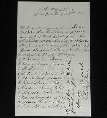 1 Battery Place, NY 1880 RR Labor Agreement signed by Poles, Swedes & Germans.
