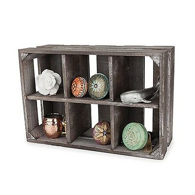 Twine 3840 5.5-Inch Wooden Display Crate Gray