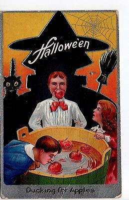 c. 1909 Halloween Postcard - Ducking for Apples - Silver Border - Embossed
