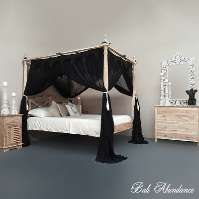 Four Poster Bed Canopy Mosquito Net 155cm x 205cm Standard Black Queen Size