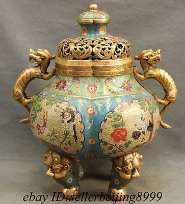 "20"" Chinese Cloisonne Dragon Unicorn Crane Deer Statue Lion Head Incense Burner"