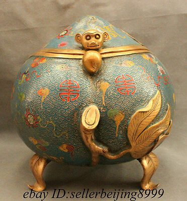 "16"" Tibet Cloisonne Bronze Gilt Monkey Head Statue Peach Incense Burner Censer"