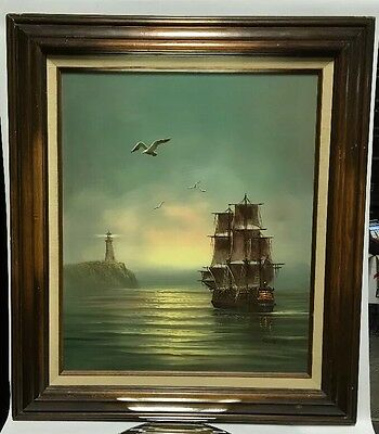 VTG.Original Oil Painting on Canvas - Sailing Ship in the Mist, Signed by Garcia