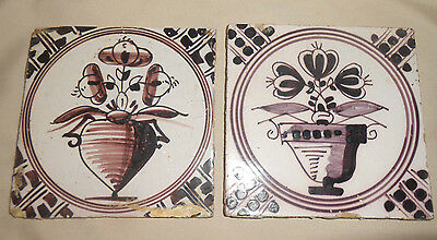 2 Antique Tiles Tulips Brownish Purple and White