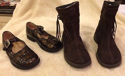 Girls Italian Suede Brown Boots And Patent Leather shoes(1 Pair Ea), Size11 / 28
