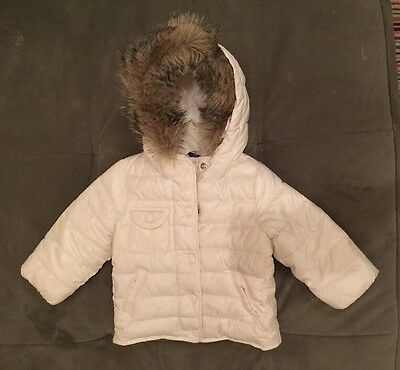 Toddler Puffy Jacket With Faux Fur Trim Hood 18-24 Months Girls