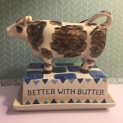 Anthropologie Better With Butter COW Butter Dish * Cute Gift * Fun for Frig NEW