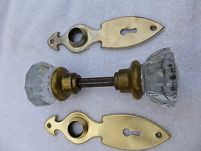 TWO Vintage Art Deco/Nouveau brass door plates TWO 12 pt crystal knobs-SET #30