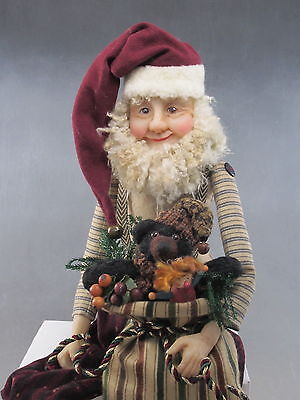 Folk Art Santa With Bear OOAK