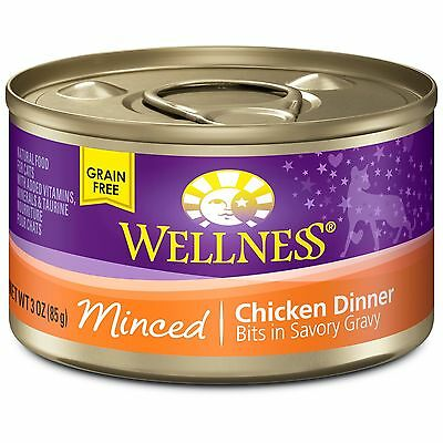 Wellness Natural Food for Pets Natural Grain Free Wet Canned Cat Food Minced ...