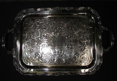 "Large Antique Silverplate Tray 15"" X 24"""