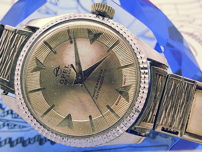 Special-Rare Opel De Luxe Record Etched Dial Fluted Bezel Vintage Mens Watch