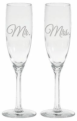 Culver 2-Piece Etched Mr. and Mrs. Flute Glasses Set 6-Ounce