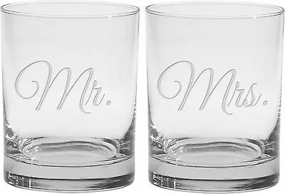 Culver 2-Piece Etched Mr. and Mrs. Double Old Fashioned Glasses Set 14-Ounce