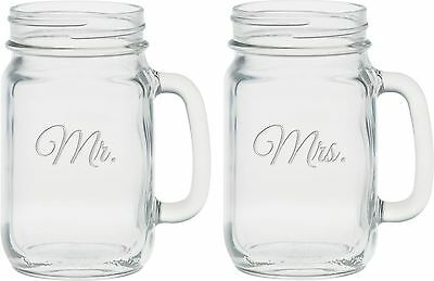 Culver 2-Piece Etched Mr. and Mrs. Handle Jar Set 16-Ounce
