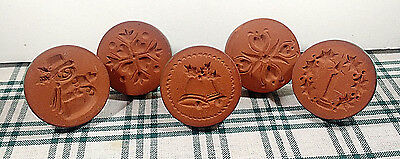 Pottery Terra Cotta Christmas Cookie Stamps Lot of 5 USED