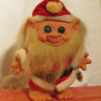 """Older 7"""" Santa Claus Dam Troll Bank Doll Promotional 1St Nationall Of Akron Ohio"""